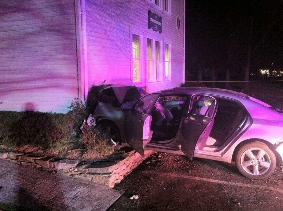 Crash scene. Photo courtesy of Old Saybrook Police Department.