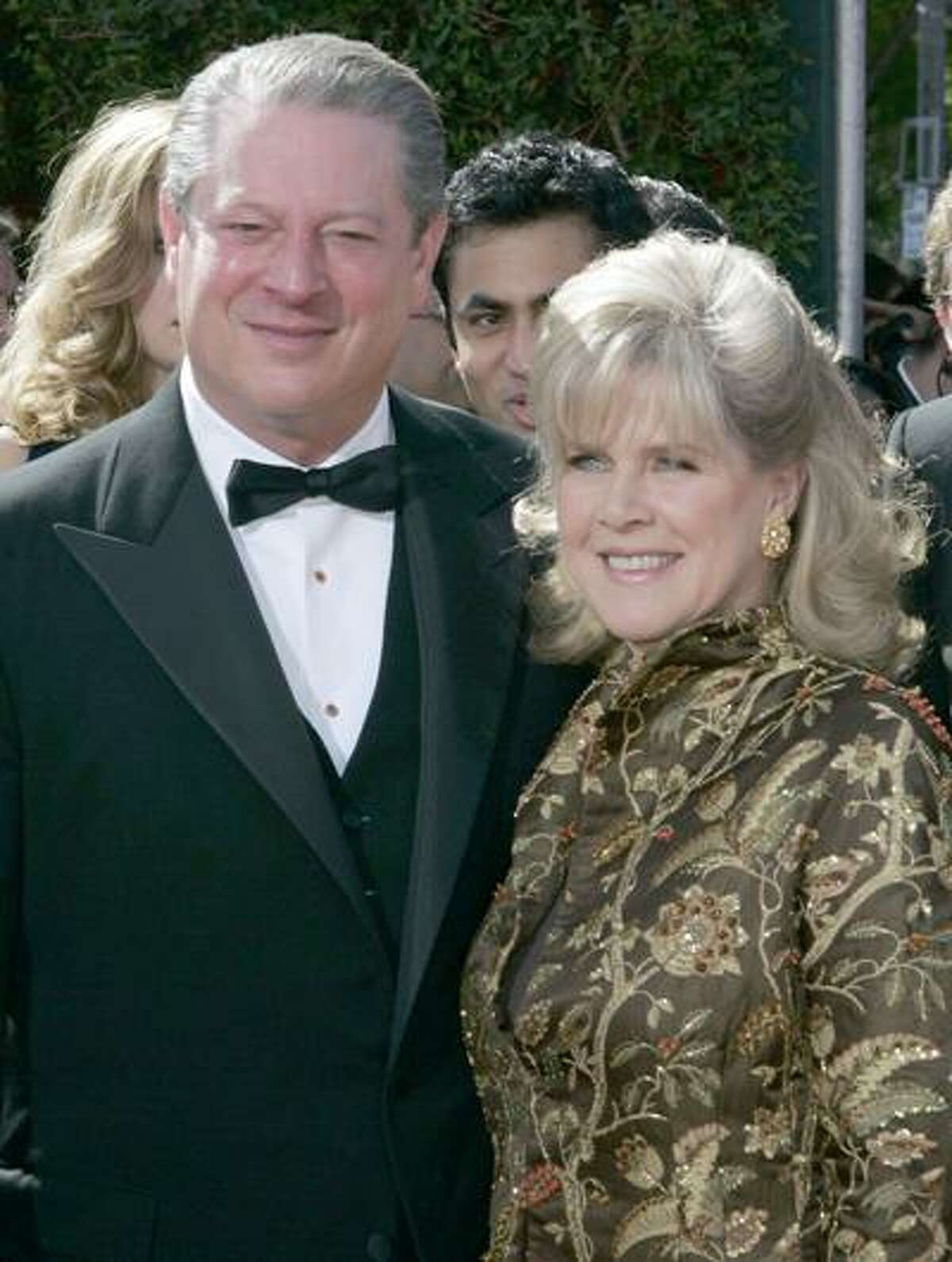 FILE - In this Sept. 16, 2007 file photo, former Vice President Al Gore and his wife, Tipper Gore arrive for the 59th Primetime Emmy Awards at the Shrine Auditorium in Los Angeles. Former Vice President Al Gore and his wife, Tipper, are separating after 40 years of marriage. (AP Photo/Chris Carlson, File)