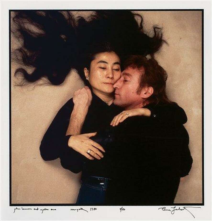This photo provided by Swann Auction Galleries shows John Lennon and Yoko Ono in December 1980 on the last day of Lennon's life. An original copy of the photograph, taken by Annie Liebovitz for Rolling Stone magazine, will be auctioned on Oct. 19, 2010 in New York. (AP Photo/Swann Auction Galleries, Annie Liebovitz) NO SALES Photo: AP / Swann Auction Galleries