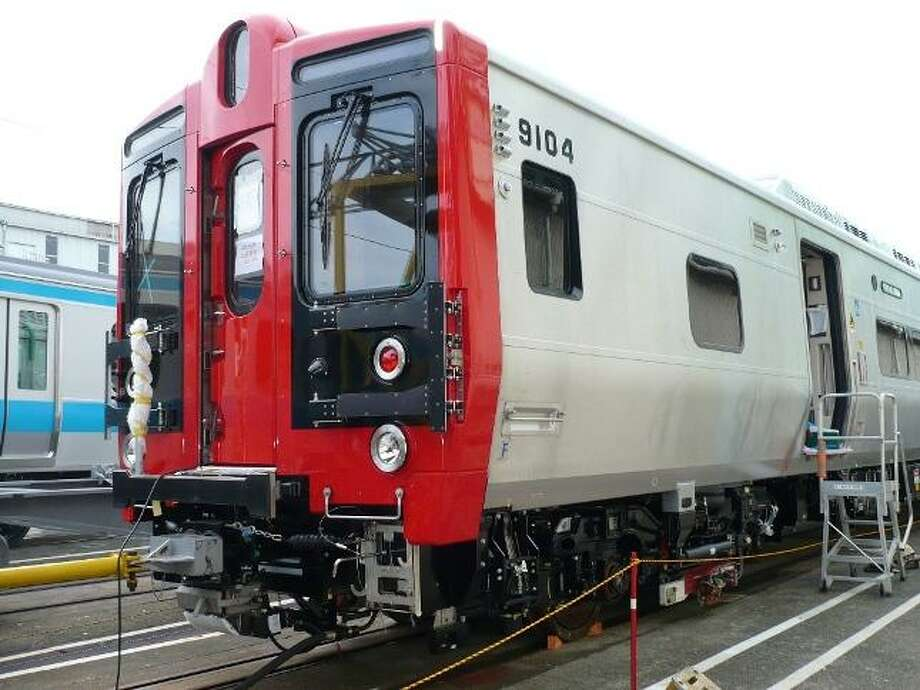 An M8 commuter rail car built by Kawasaki. The first 10 are being tested at the New Haven rail yard.