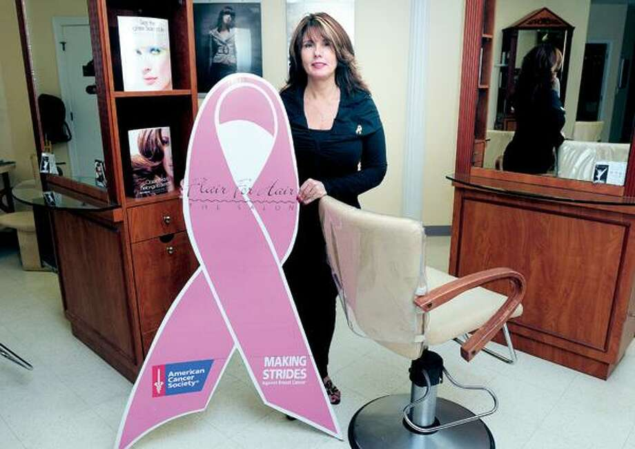 Arnold Gold/Register, Joyce-Lyn Altieri, owner of Flair for Hair in North Haven, is assembling a team for the Making Strides Against Breast Cancer walk Oct. 24 at Lighthouse Point Park in New Haven and will have a cut-a-thon in her salon Oct. 17.