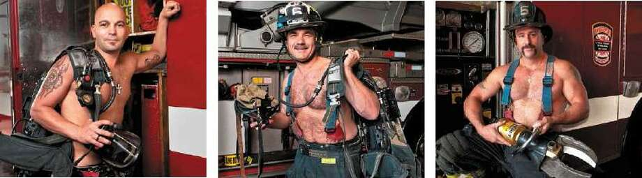 "Contributed photos  Bridgeport firefighters Lt. Giovanni Sanzo, Capt. John Botsko and Shane Brennan all stripped down for charity in a calndar called ""Bridgeport's Bravest,"" to benefit the Fallen Firefighters Fund."