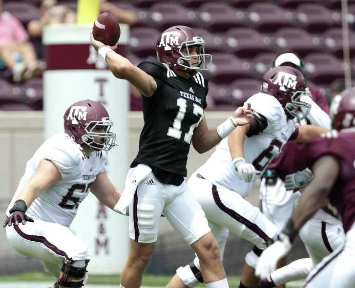 Texas A&M quarterback Nick Starkel throws a pass during the spring game at Kyle Field on April 8, 2017, in College Station.