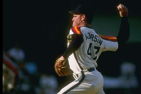 Pitcher Larry Andersen of the Houston Astros throws a pitch during a game.