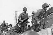 U.S. Marines at the Battle of Tarawa in the Gilbert Islands during World War II.
