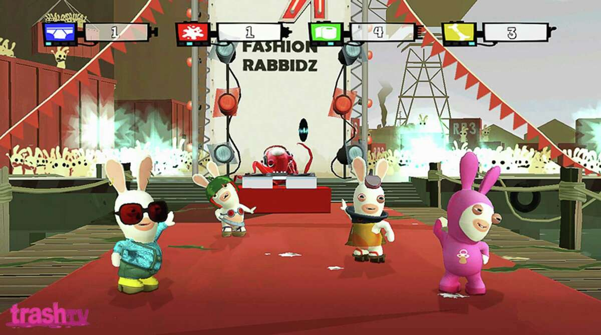 """This screen grab released by Ubisoft shows insane bunnies taking over the TV schedule in """"Rayman Raving Rabbids TV Party"""". (AP Photo/Ubisoft) ** NO SALES**"""