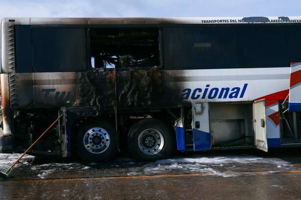 A charter bus carrying 25-30 people to Monterrey, Mexico caught fire on the HOV lane of the I-10 West near the Mason Road exit Friday, July 28, 2017, in Katy, Texas. No one was hurt. ( Godofredo A. Vasquez / Houston Chronicle )