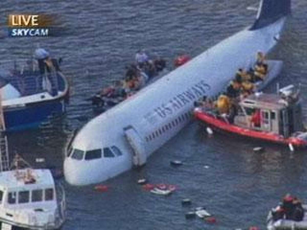 This video frame grab image taken from WNBC-TV shows a US Airways aircraft that has gone down in the Hudson River in New York, Thursday Jan. 15, 2009. It was not immediately clear if there were injuries. (AP Photo/WNBC-TV)