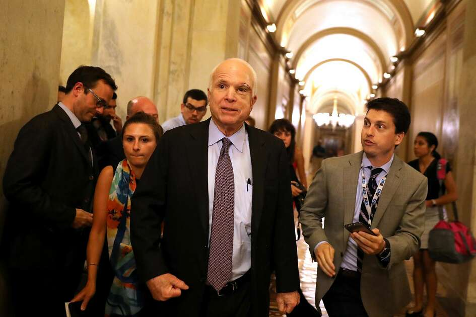 Sen. John McCain (R-AZ) leaves the the Senate chamber at the U.S. Capitol after voting on the GOP 'Skinny Repeal' health care bill on  July 28, 2017 in Washington, DC. Three Senate Republicans voted no to block a stripped-down, or 'Skinny Repeal,' version of Obamacare reform.  (Photo by Justin Sullivan/Getty Images)