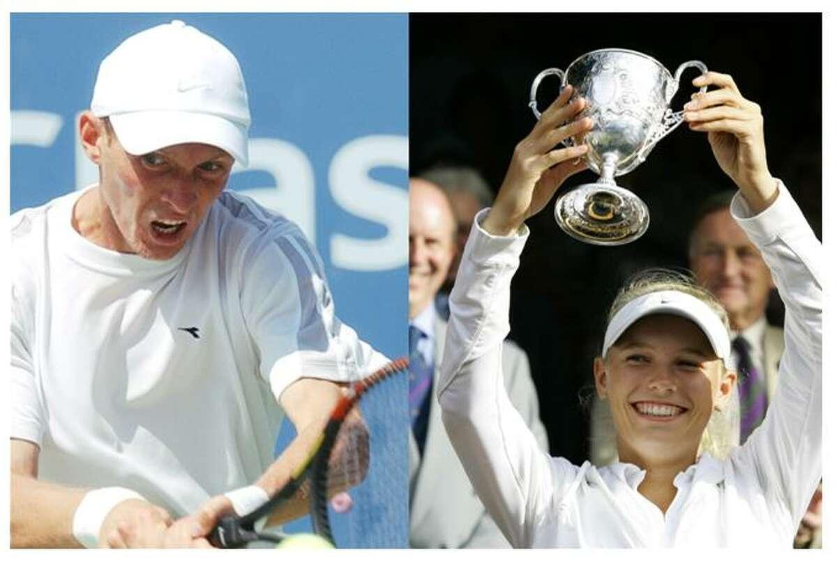 Former men's singles champion Nikolay Davydenko, left, and defending women's singles champion Caroline Wozniacki highlight the list of players entered into the 2009 Pilot Pen Tennis tournament.