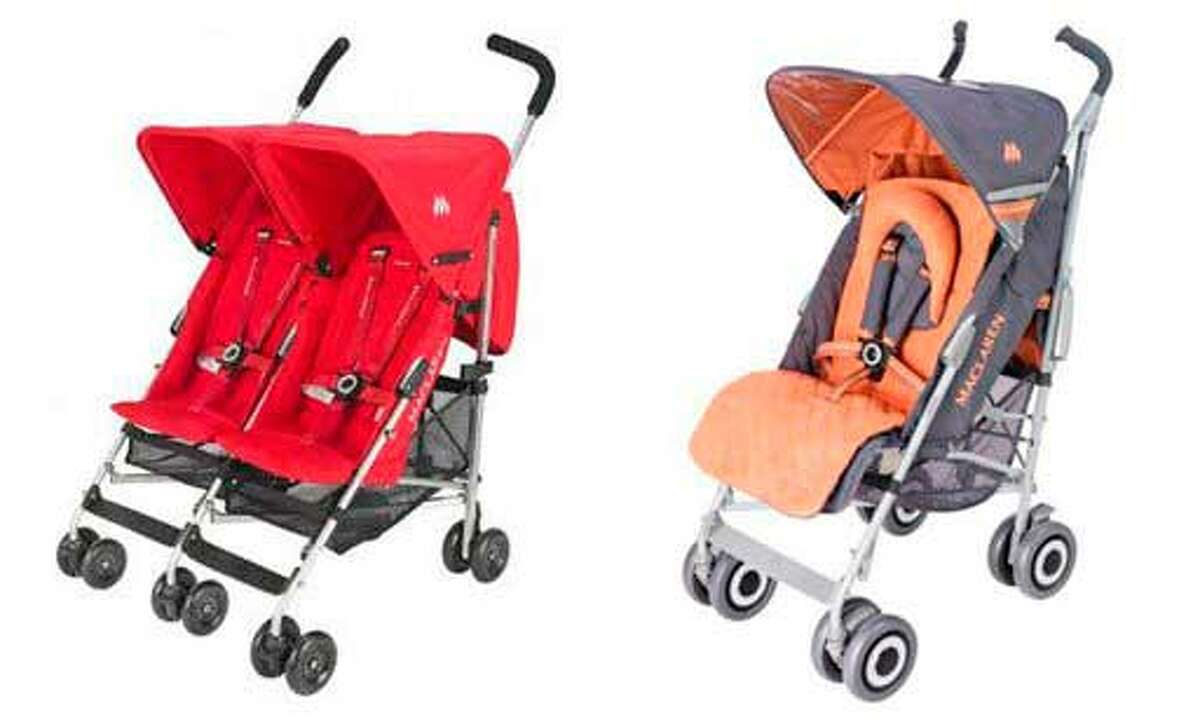 """In this combo made with images provided by the Consumer Product Safety Commission, two models of Chinese-made double, left, and single umbrella Maclaren strollers that were recalled Monday, Nov. 9, 2009, are shown. About a million Maclaren strollers sold by Target and Babies """"R"""" Us are being recalled after 12 reports of children having their fingertips amputated by a hinge mechanism. (AP Photo/Consumer Product Safety Commission)"""