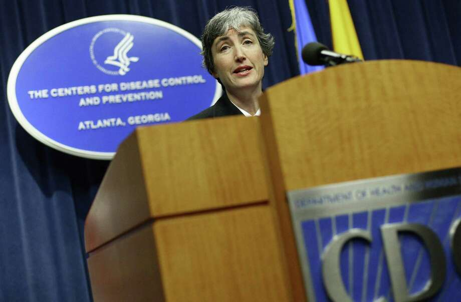 Dr. Anne Schuchat, Director of the National Center for Immunization and Respiratory Diseases gives an update about swine flu, during a press conference at the CDC in Atlanta on June 11, 2009.  (AP Photo/ Josh D. Weiss) Photo: AP / FR159643 AP