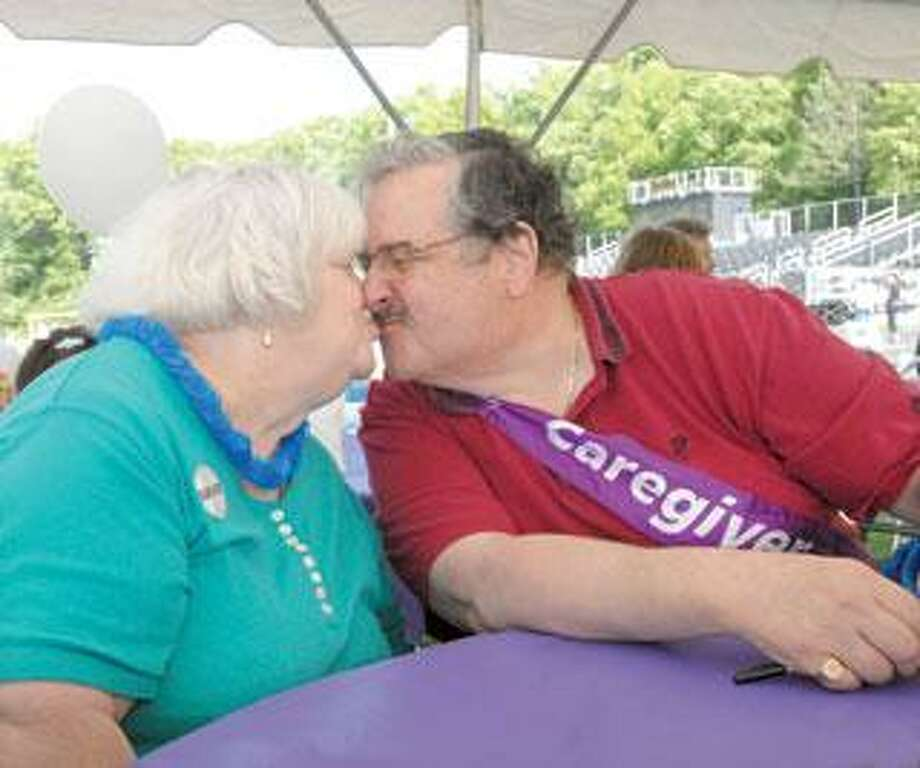 Ronnie and John Fornabaio were at the Amity Relay for Life last weekend and shared her story about the importance of colonoscopies. (Melanie Stengel/Register)