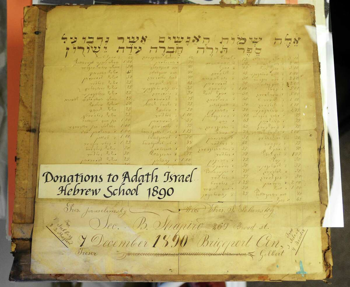 A document from 1890 which shows donations, in Hebrew, to the Adath Israel Hebrew School in Bridgeport. Photographed inside the Jewish Historical Society of Fairfield County on Hope Street in Stamford on Wednesday.