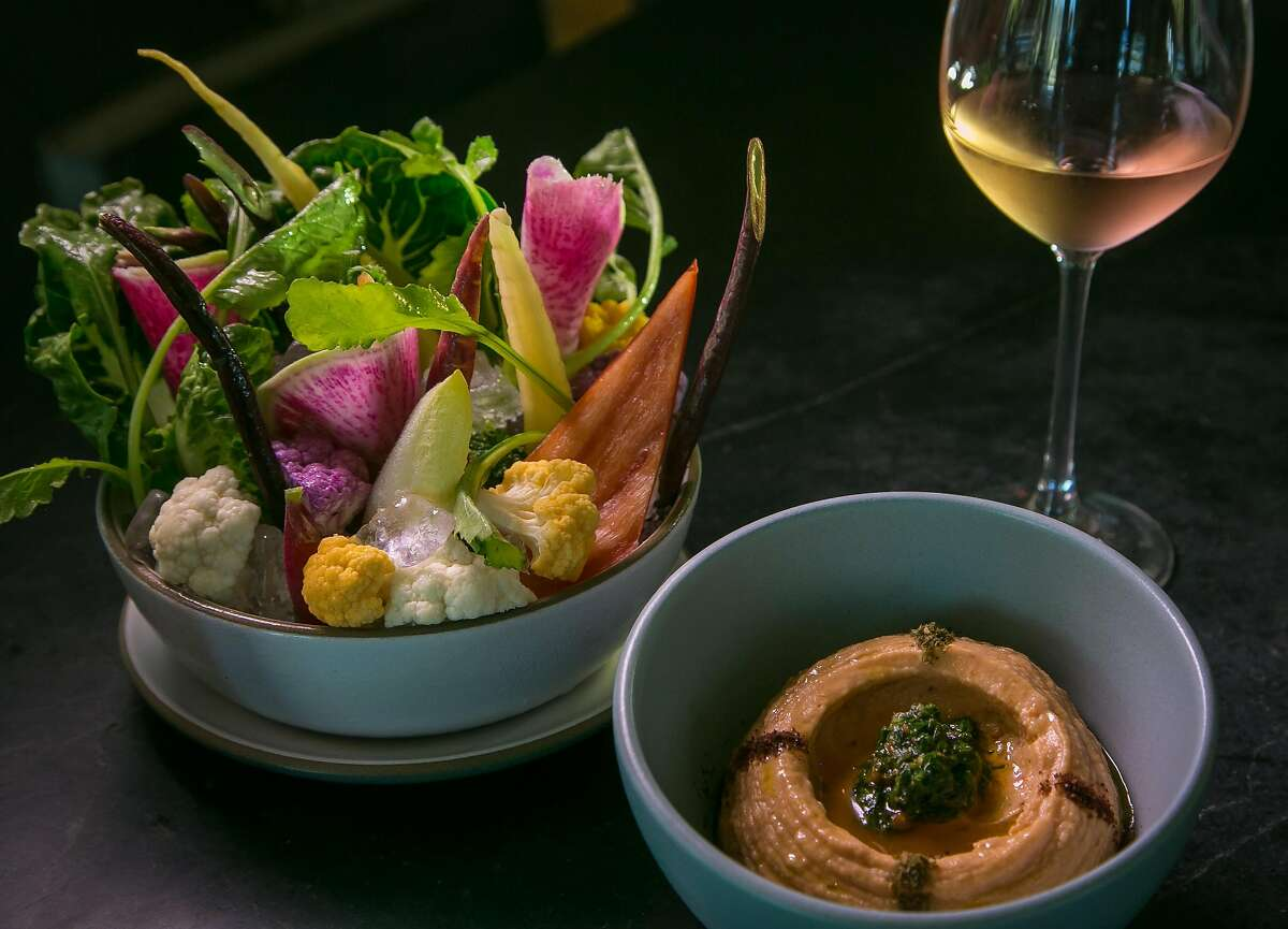 The Crudites and dip with a glass of Rose at Acacia in St. Helena, Calif., is seen on July 23rd, 2017.
