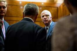 Sen. John McCain, R-Ariz., during an all night session Thursday to consider the Republican healthcare bill on Capitol Hill. MUST CREDIT: Washington Post photo by Melina Mara.