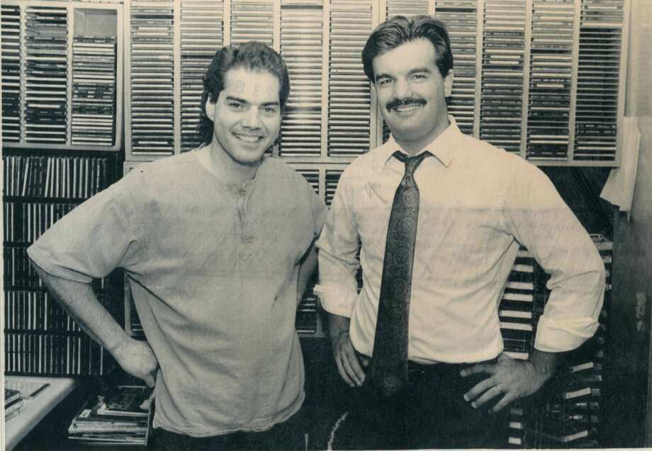 "Morning radio rockers Marc Arturi, left, and Joe Volk, of WKQZ have compiled a cassette called ""The Best of Marc and Joe"" to sell and raise money for Midwest flood victims. (July 1993)  Photo: Daily News File Photo"