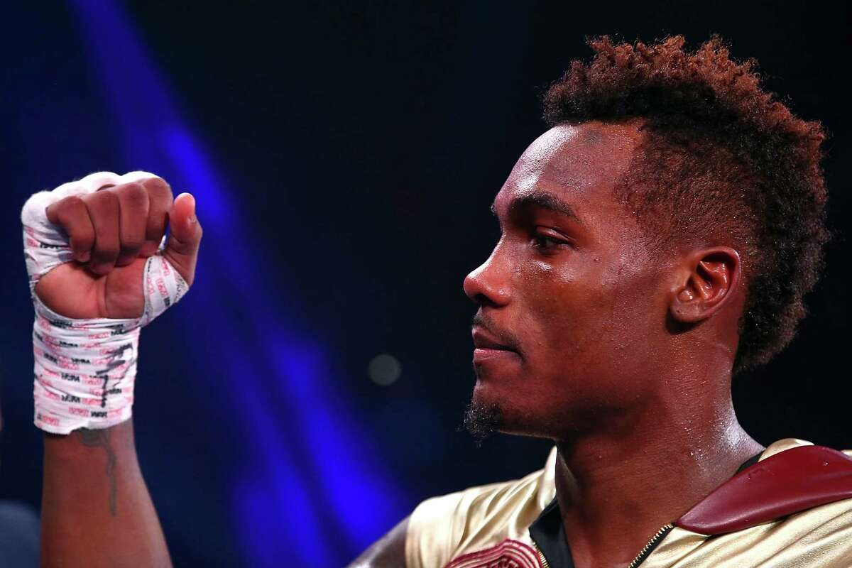 DALLAS, TX - NOVEMBER 28: Super welterweight fighter Jermall Charlo celebrates his victory over Wilky Campfort after a technical knockout during the Premier Boxing Champions at Bomb Factory on November 28, 2015 in Dallas, Texas. (Photo by Sarah Crabill/Getty Images)