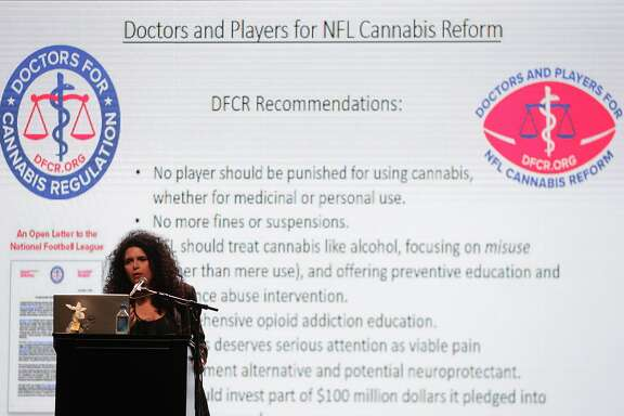 Dr. Suzanne Sisley speaks during a forum featuring former NFL players speaking on the importance of medical cannabis research at the Revention Music Center on Wednesday, Feb. 1, 2017, in Houston. ( J. Patric Schneider / For the Chronicle )