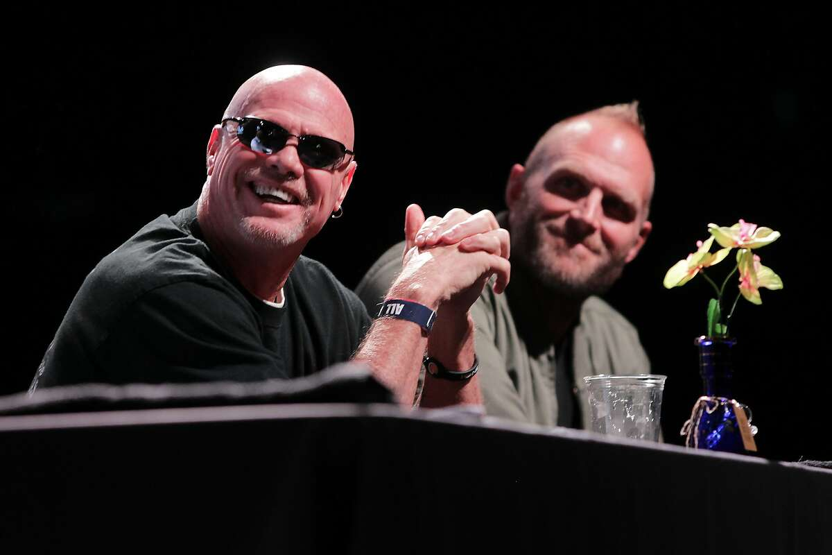 Former NFL players Jim McMahon and Kyle Turley speak during a forum on the importance of medical cannabis research at the Revention Music Center on Wednesday, Feb. 1, 2017, in Houston. ( J. Patric Schneider / For the Chronicle )