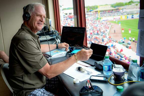 Larry Andersen in radio booth for the Philadelphia Phillies. (Copyright © 2017 The Phillies/Miles Kennedy)