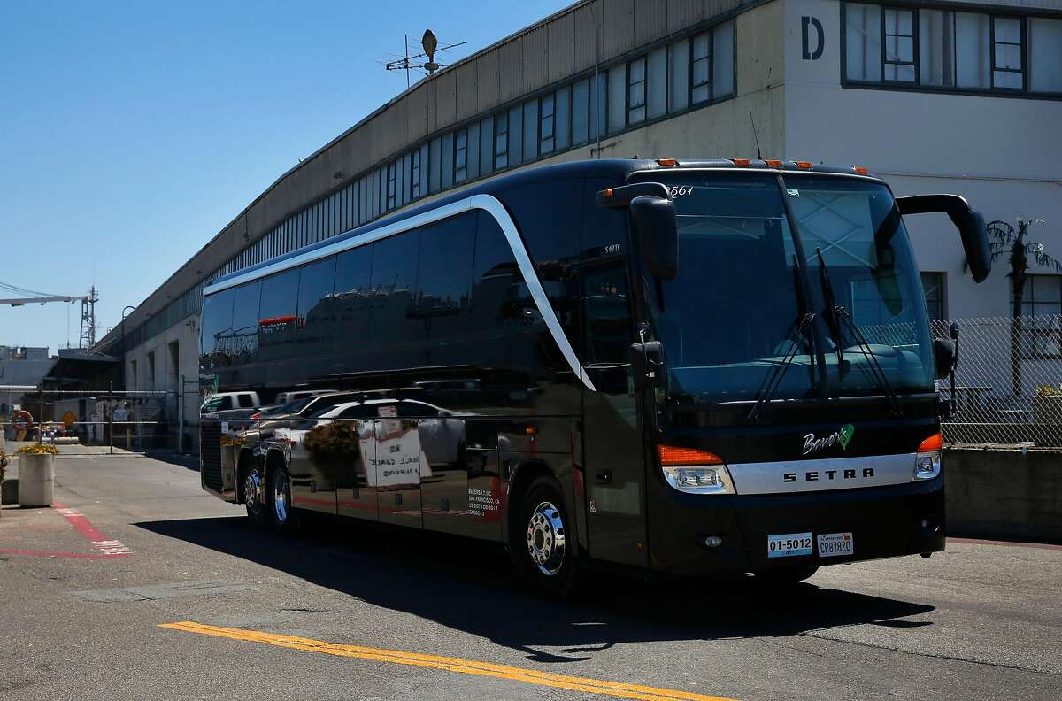 A bus leaves the Bauer's Intelligent Transportation facility on Friday.