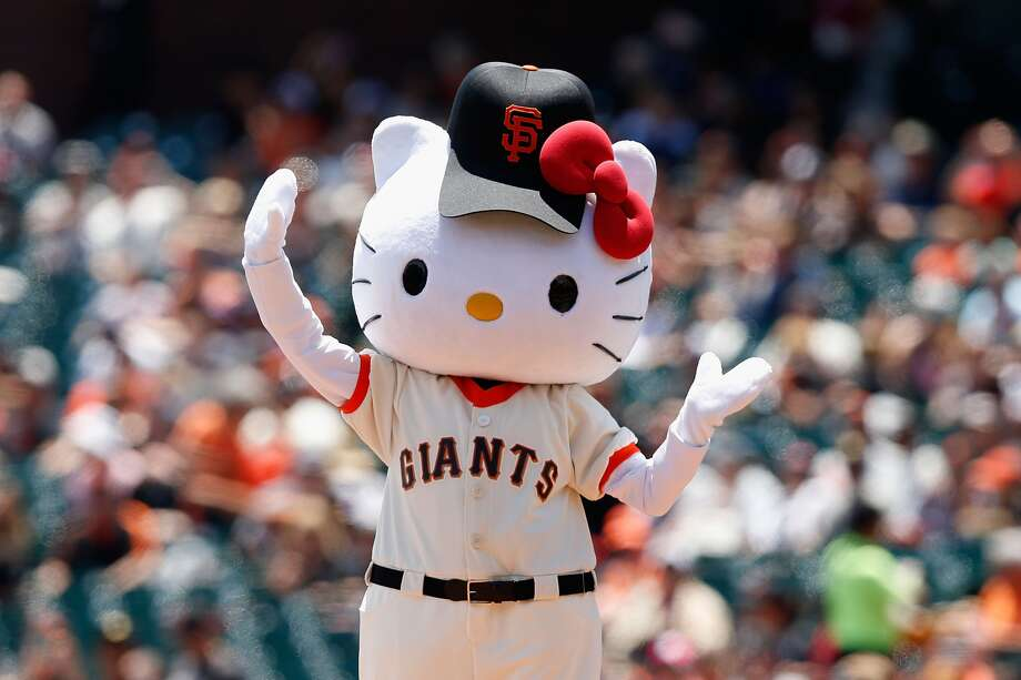Hello Kitty throws out the first pitch before the game between the Colorado Rockies and the San Francisco Giants at AT&T Park on June 28, 2015 in San Francisco. Photo: (Photo By Lachlan Cunningham/Getty Images)