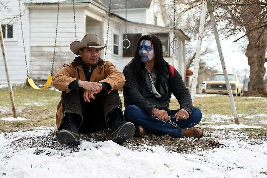 "Above: Jeremy Renner (left) and Gil Birmingham star in ""Wind River,"" the third in a Western trilogy by writer-director Taylor Sheridan, right. Photo: The Weinstein Company"