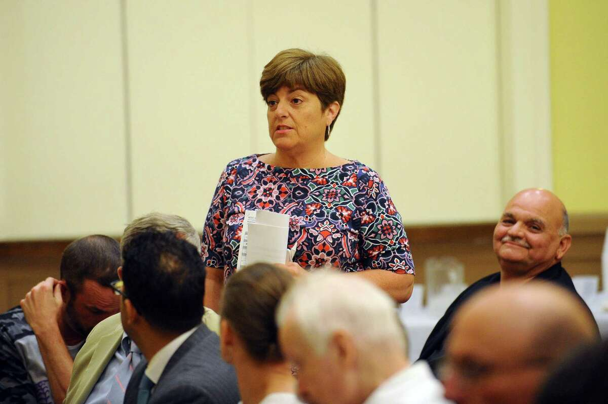 FILE - Rep. Mary Fedeli, R-17, speaks during the Stamford Republican Town Committee convention inside the Knights of Columbus on Shippan Avenue in Stamford, Conn. on Wednesday, July 19, 2017.