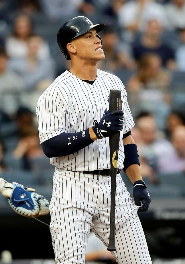 NEW YORK, NY - JULY 27:  Aaron Judge #99 of the New York Yankees reacts after he struck out in the first inning against the Tampa Bay Rays on July 27, 2017 at Yankee Stadium in the Bronx borough of New York City.  (Photo by Elsa/Getty Images) Photo: Elsa, Getty Images