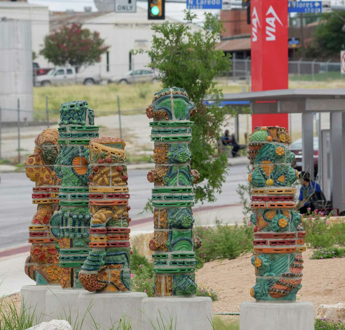 """""""The Guardians of Five Points,"""" a new public art project by Diana Kersey, is located at the Five Points Transfer Area at 106 E. Fredericksburg Road."""