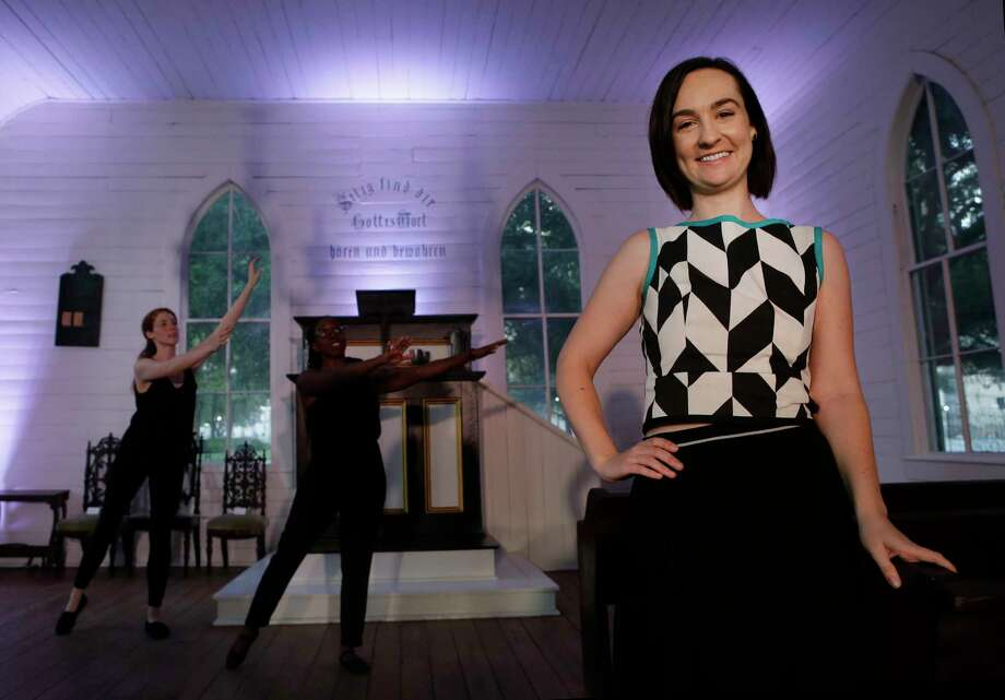 """Choreographer Lydia Hance usually works with artists in other disciplines - in this case actors Margaret Lewis, rear left, and Brittny Bush, center, for Horse Head Theatre's staging of """"Church"""" at the Heritage Society's 1891 St. John Church. Photo: Melissa Phillip, Staff / © 2017 Houston Chronicle"""