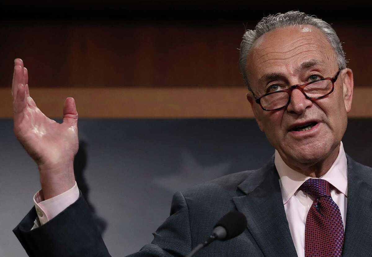 Senate Minority Leader Chuck Schumer (D-NY) answers questions during a press conference at the U.S. Capitol on the result of today's early morning Senate vote on health care July 28, 2017 in Washington, DC.