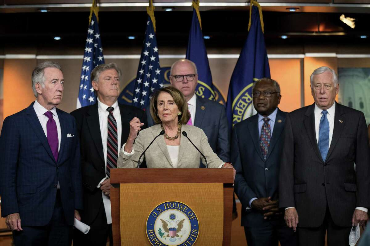 Surrounded by members of the House Democratic leadership, House Minority Leader Nancy Pelosi (D-CA) speaks during a press conference regarding the Senate's defeat of the GOP health care plan, on Capitol Hill, July 28, 2017 in Washington, DC.