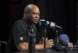 Stanford head coach David Shaw speaks at the Pac-12 NCAA college football media day, Thursday, July 27, 2017, in the Hollywood section of Los Angeles. (AP Photo/Mark J. Terrill)