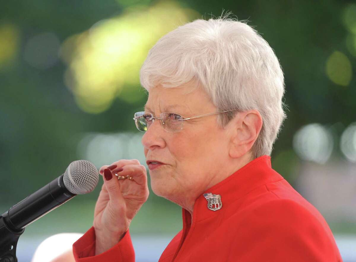 Connecticut Lt. Gov. Nancy Wyman speaks at the Hill House senior housing residence in the Riverside section of Greenwich, Conn. Wednesday, Oct. 5, 2016.