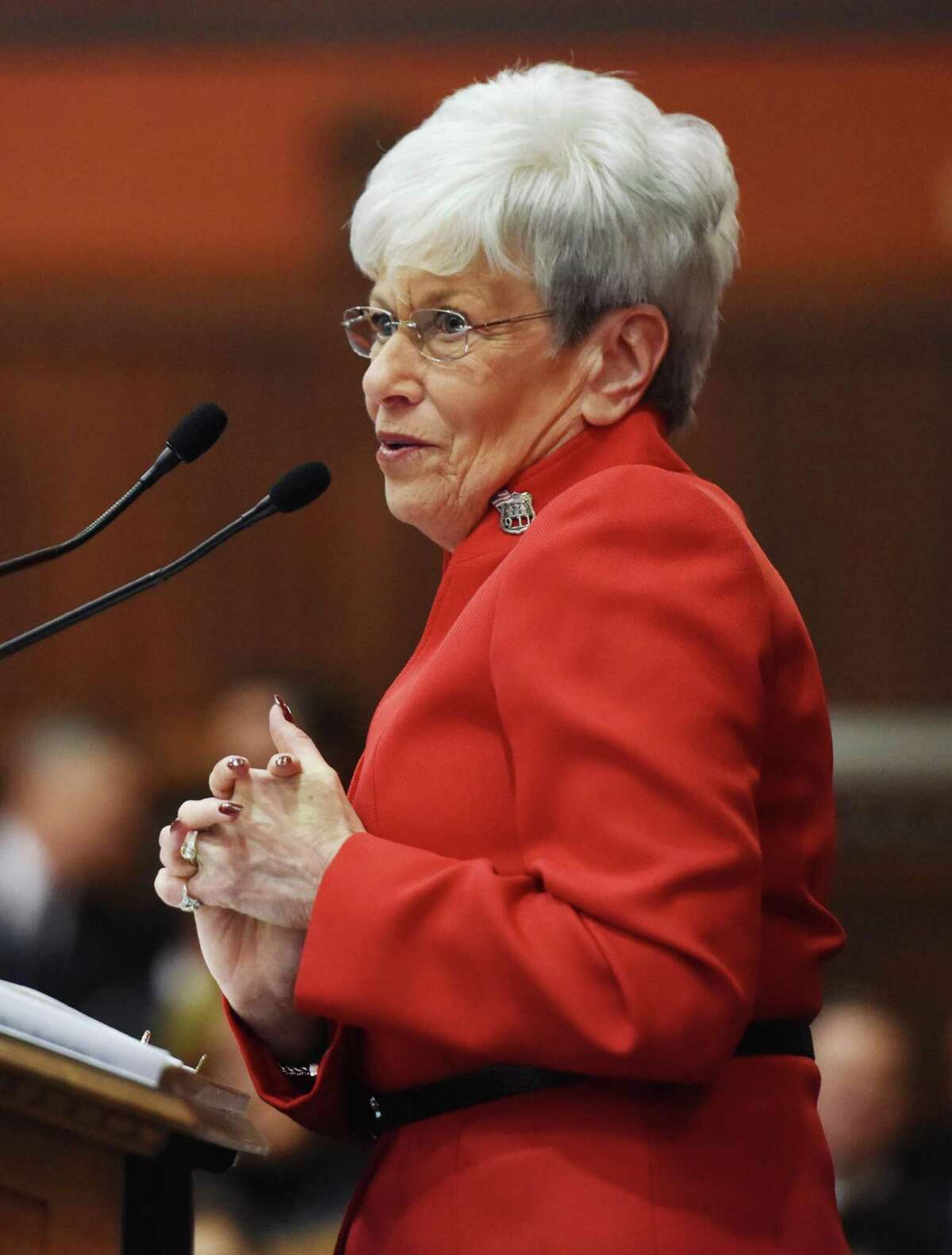 Connecticut Lt. Gov. Nancy Wyman speaks during the joint session of the Connecticut General Assembly in the Hall of the House of Representatives at the Capitol building in Hartford, Conn. Wednesday, Jan. 7, 2015.