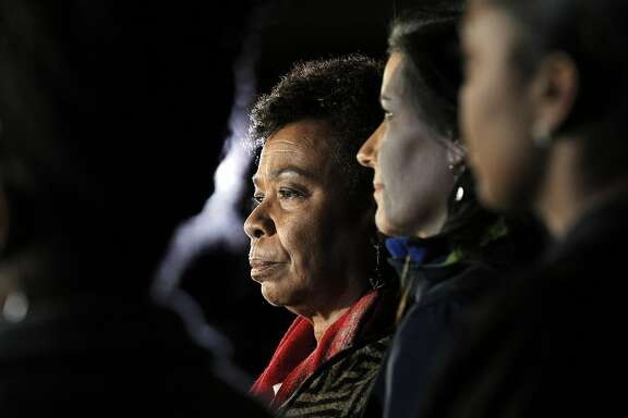 Congresswoman Barbara Lee, center, during a press conference with Oakland Mayor Libby Schaaf as recovery efforts came to a close following the Ghost Ship fire that claimed 36 lives in Oakland, Calif., on Tuesday, December 6, 2016.
