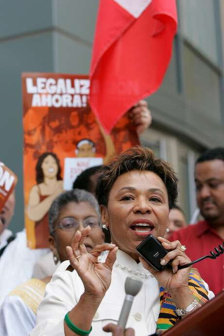 U.S. Representative Barbara Lee speaks to  some of the thousands of marchers who took to the streets and walked down International Blvd. in Oakland, Ca., to bring attention to immigration reform on Monday, May 1, 2006. Photo: Carlos Avila Gonzalez, SFC