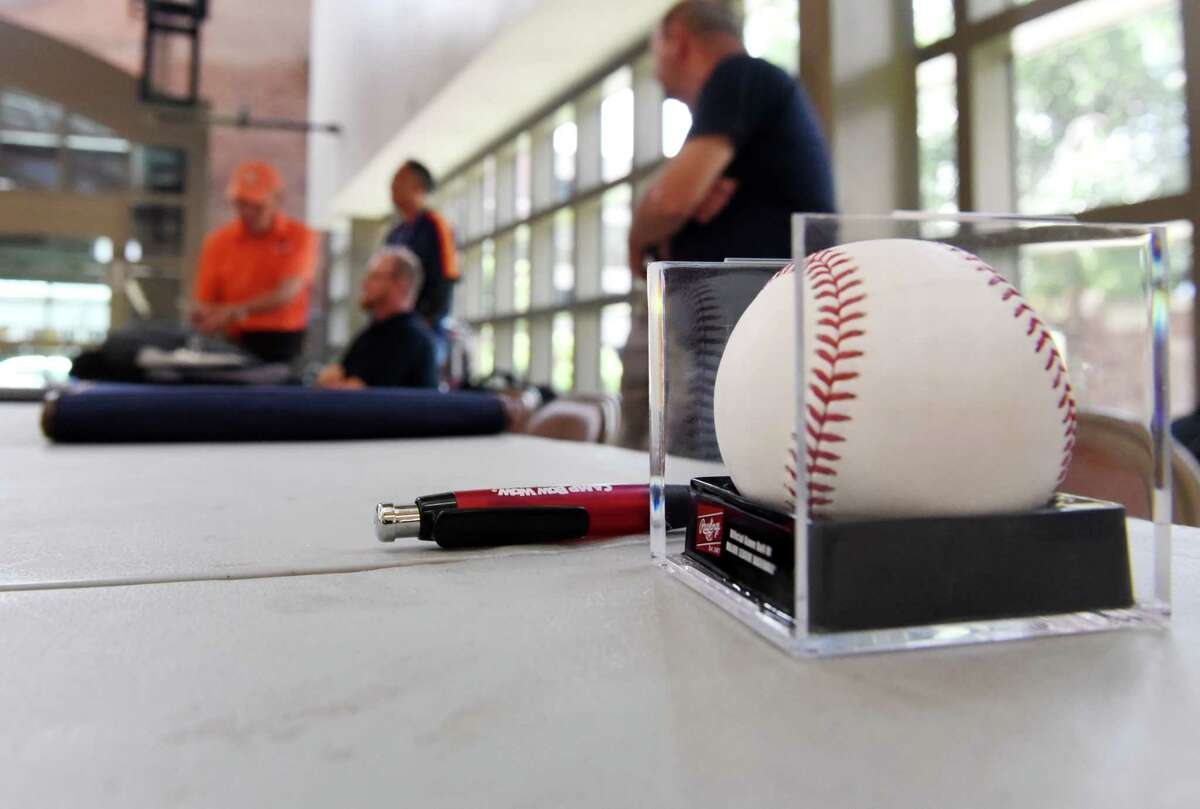 Autograph seekers wait for any arriving Hall of Fame baseball players at Albany International Airport on Friday, July 28, 2017, in Colonie, N.Y. (Will Waldron/Times Union)