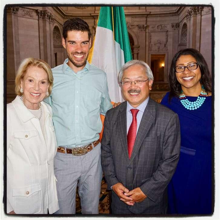 Charlotte Shultz (left) with runner Chris Mocko, Mayor Ed Lee and Supervisor London Breed at City Hall. July 13, 2017.