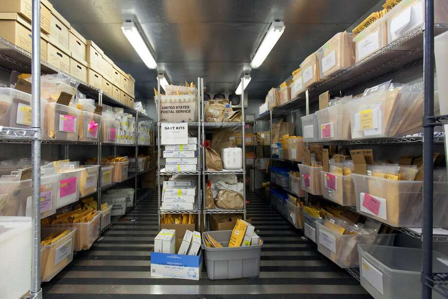 Evidence fills a California Department of Justice Bureau of Forensic Services DNA Laboratory freezer in Richmond. The state doesn't track rape kits. Photo: Peter DaSilva, Special To The Chronicle