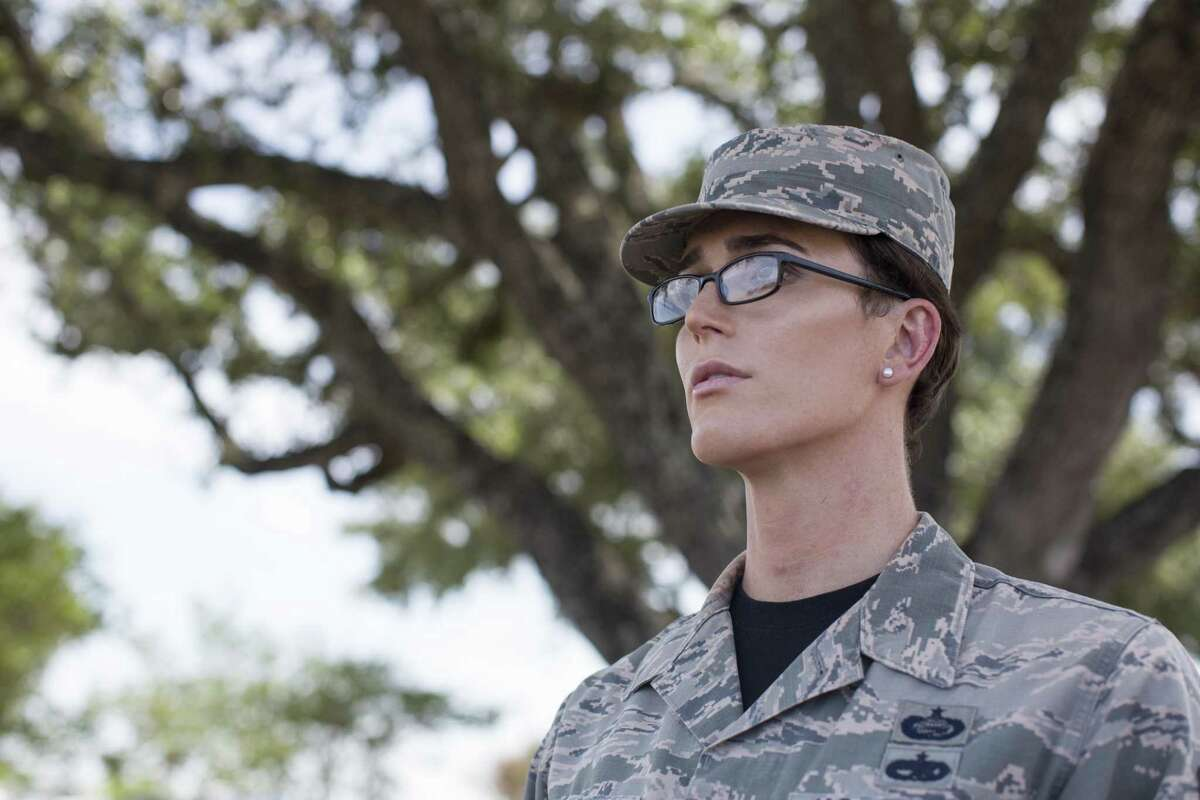 Staff Sgt. Jamie Hash stands for a portrait outside the visitors center at Randolph Air Force Base in San Antonio, Texas on July 28 2017.