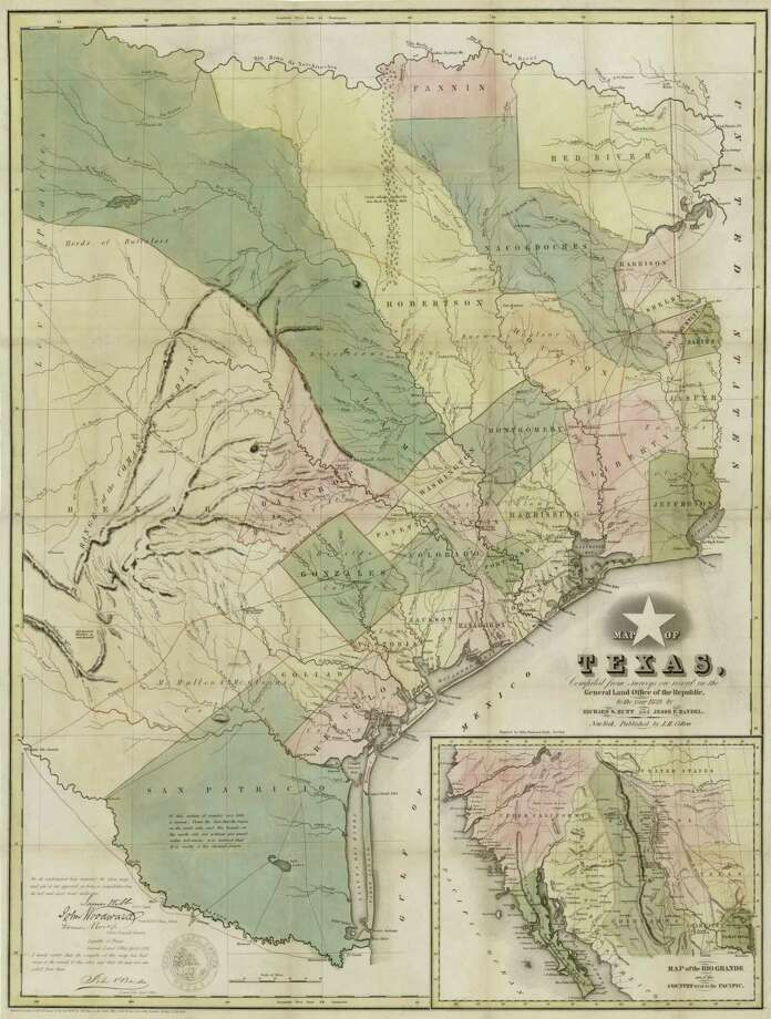 This 1839 map of Texas was made from surveys on file in the General Land Office of the Republic at the time and considered the most accurate of its kind, replacing an earlier map by Stephen F. Austin. Photo: Holcomb Digital Map Collection, Archives And Records Program, Texas General Land Office / Holcomb Collection, Maps and Archives Division, Texas General Land Office
