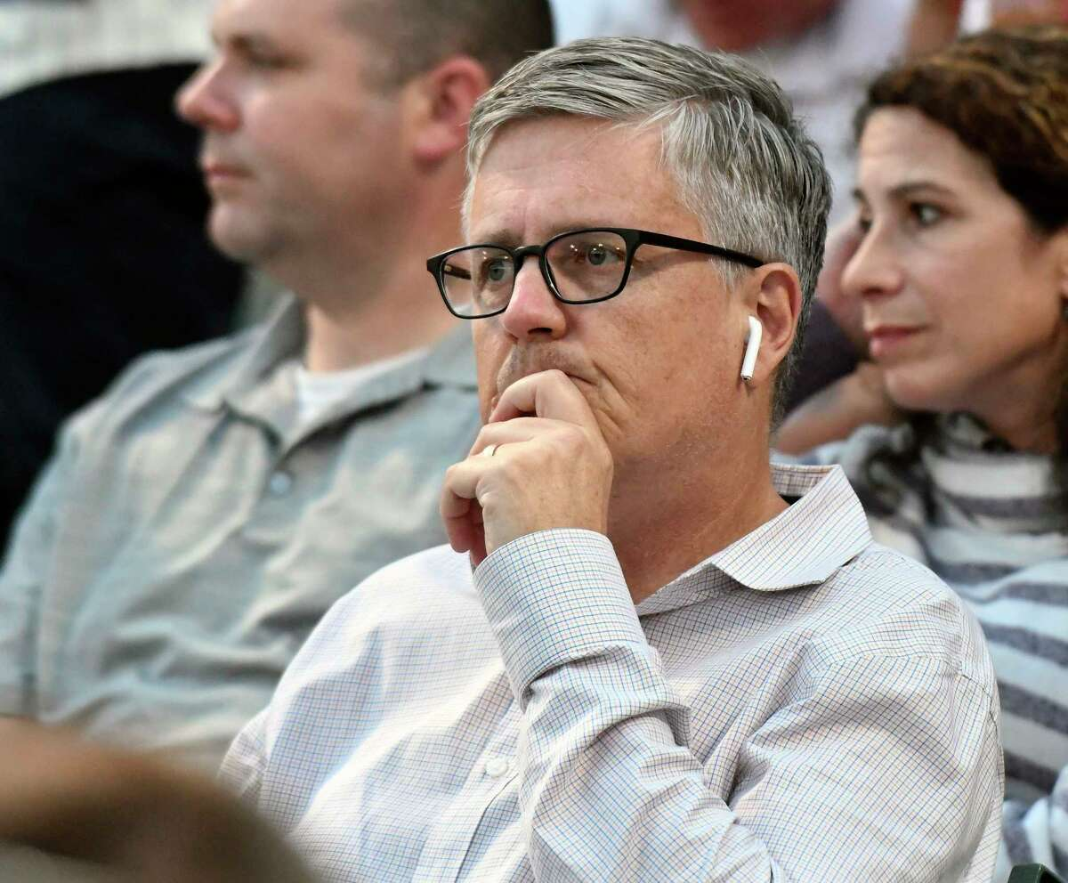 Houston Astros general manager Jeff Luhnow, watches the the Tri-City ValleyCats play the Staten Island Yankees during a minor league baseball game on Friday, July 28, 2017, in Troy, N.Y. (Hans Pennink / Special to the Times Union) ORG XMIT: HP101
