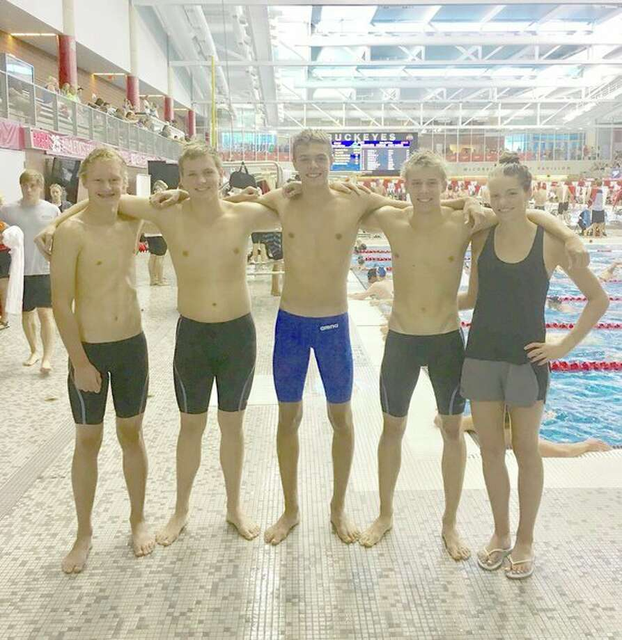 From left, Zach Fewkes, Gage Bunker, Ben Newman, Jacob Krzciok and Claire Newman of Kronos Aquatics competed at the Speedo Summer Sectional meet at The Ohio State University recently. (Photo provided)