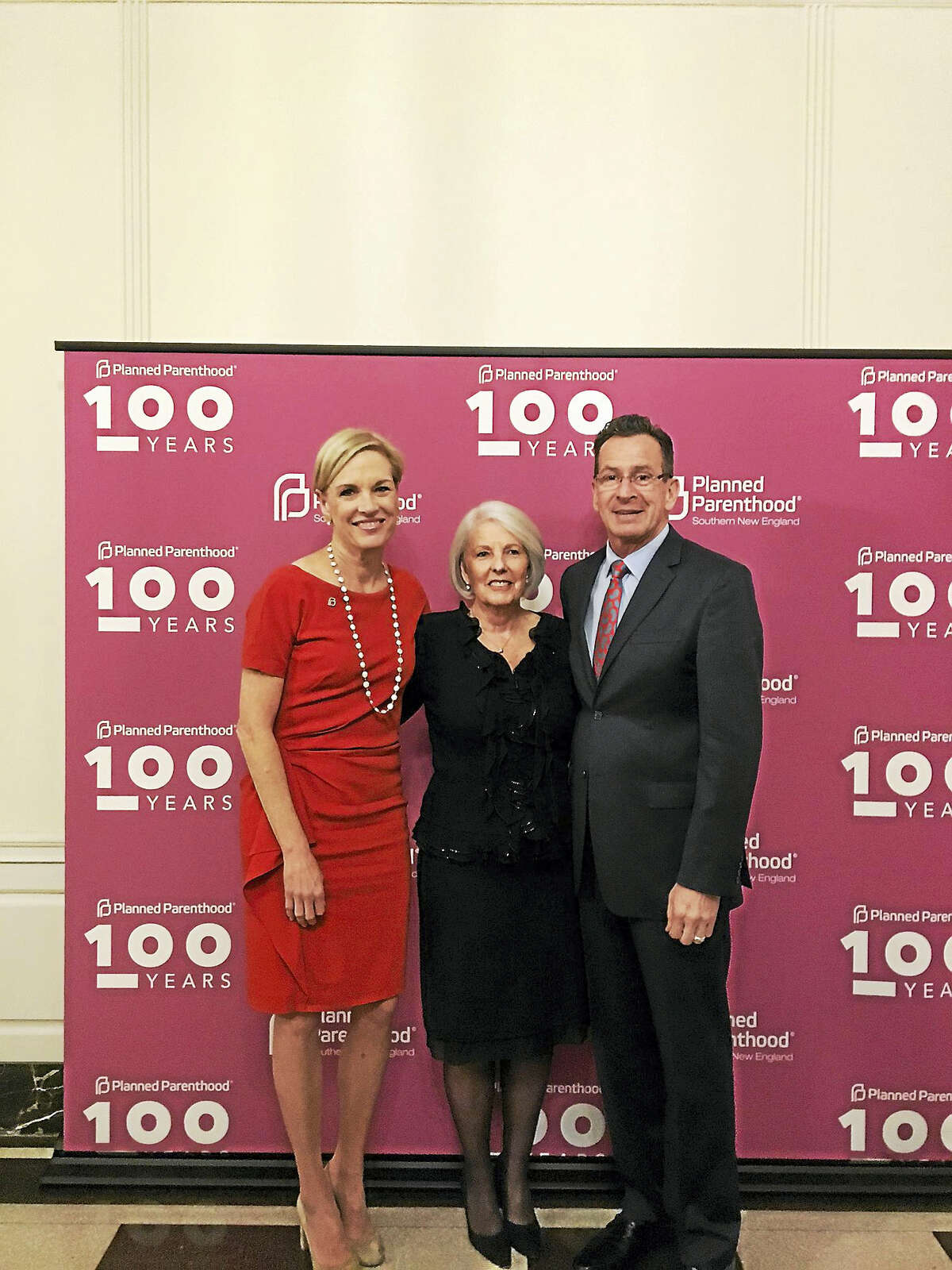 Cecile Richards, president of Planned Parenthood Federation of America; Judy Tabar, president and CEO of Planned Parenthood of Southern New England and Gov. Daniel P. Malloy attended Tabar's retirement party Tuesday at the New Haven Lawn.