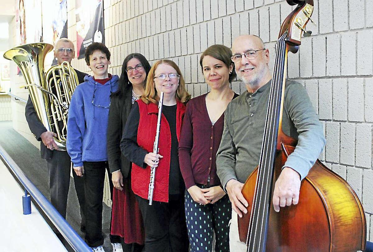 "NMS faculty members gather to rehearse for ""All That Jazz!"" From left, Art Hovey (tuba), Reesa Gringorten (clarinet), Irene Senedak (piano), Chris Radawiec (flute), Ravenna Michalsen (cello) and Jeff Fuller (bass)."