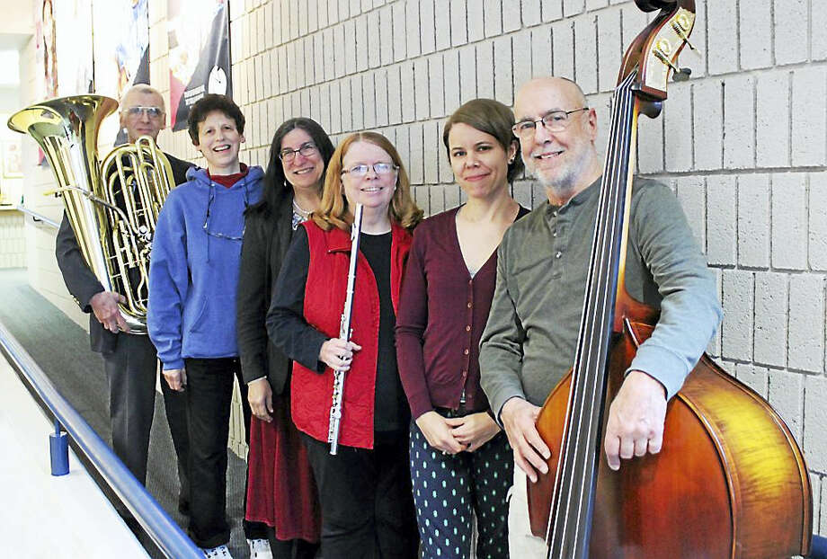 "NMS faculty members gather to rehearse for ""All That Jazz!"" From left, Art Hovey (tuba), Reesa Gringorten (clarinet), Irene Senedak (piano), Chris Radawiec (flute), Ravenna Michalsen (cello) and Jeff Fuller (bass). Photo: Contributed"