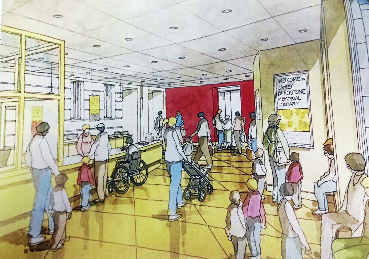 A sketch of a proposed addition to the back entrance of the James Blackstone Memorial Library shows open space entryway and a handicap accessible circulation desk.
